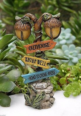 Miniature Dollhouse FAIRY GARDEN Accessories ~ Woodland Gnome Acorn Sign Post