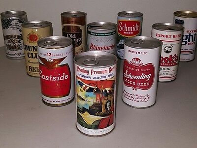 Lot of 10 Empty Collectible Beer Cans (USA mixture)