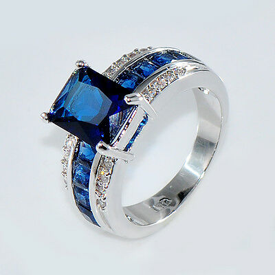 Sapphire CZ Rings 8*10MM Blue Crystal Women's 14KT White Gold Filled Size M-T1/2