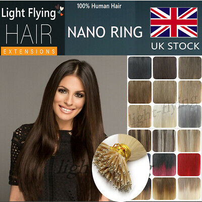16-24'' 7A Halo Nano Ring Tip 100% Remy Human Hair Extensions 1g/s Double Drawn