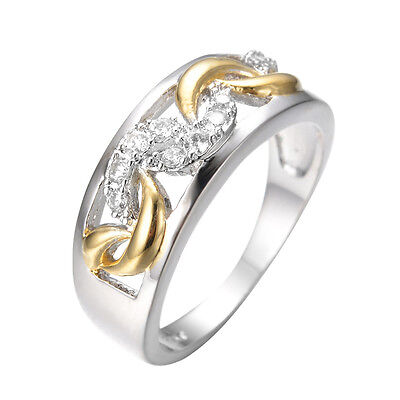 Band Rings White CZ Crystal Women's 14kt White Gold Filled Hollow-out Engagement