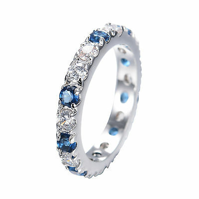 Blue Sapphire Crystal Ring Women's Wedding Band 14kt White Gold Filled Sz M-T1/2