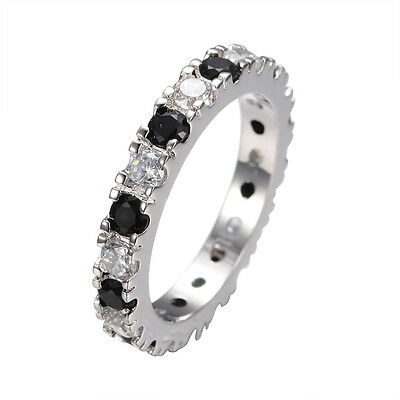 Wedding Band Rings White&Black Sapphire Women's 14kt White Gold Filled Size 5-10