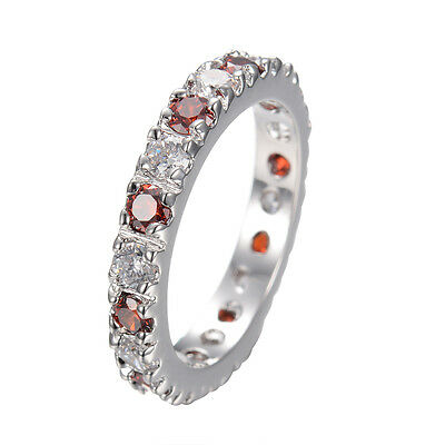 Ruby Band Rings White&Red Crystal Women's 14kt White Gold Filled Wedding Sz 6-10
