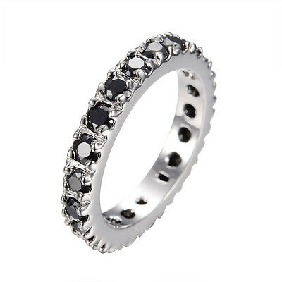 Wedding Band Ring Pure Black Crystal Women's 14kt White Gold Filled Gift Sz 6-10