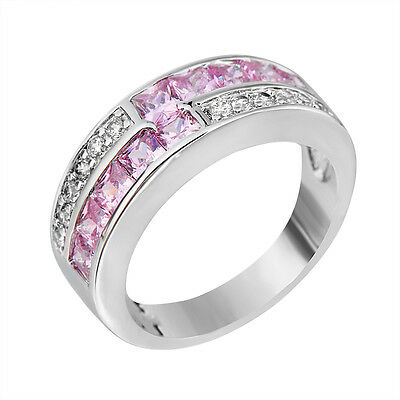 Band Rings Pink Crystal Women's 14kt White Gold Filled Engagement Gift Size 5-10