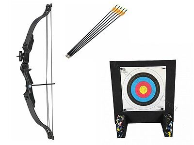 New 20Lb Black Junior Archery Set Compound Bow Beginner Package and Foam Target
