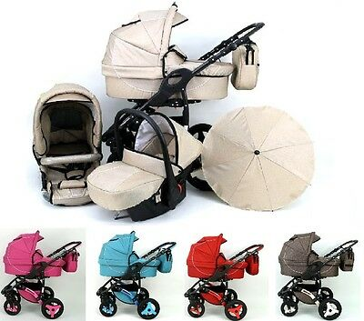 Baby Pram Buggy Pushchair Stroller  Ecco Linen 3in1 + Car seat+ FREE Umbrella