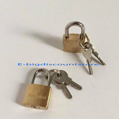 (2)Small Metal Padlock Mini Brass Tiny Box Lock Jewelry 2 Keys Luggage/Suitcase