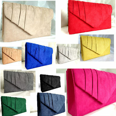 c958d198927 New Nude Royal Blue Red Navy Grey Faux Suede Evening Day Clutch Bag Shoulder