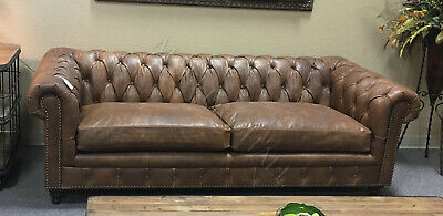 Solid Hardwood Tufted Distressed Chocolate Leather Chesterfield Sofa
