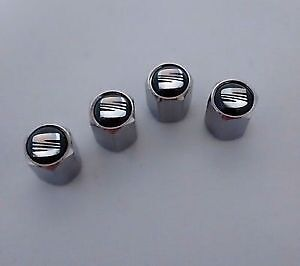 Seat Car Chrome Valve Dust Caps Covers for Wheel Tyre Tire Set of 4 Dustcaps