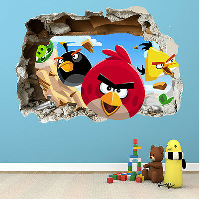 Angry Birds Smashed Wall Sticker - 3D Bedroom Boys Girls Wall Art Decal