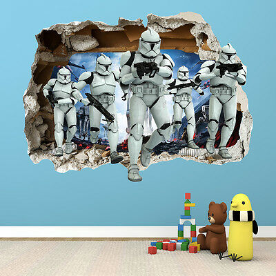 Star Wars Smashed Wall Sticker - 3D Bedroom Boys Girls Wall Art Decal