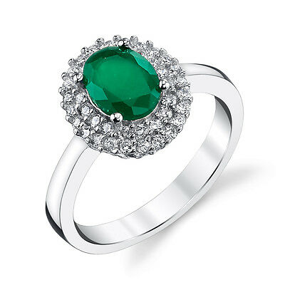 925 Solid Sterling Silver Traditional Emerald Engagement Ring Cubic Zirconia