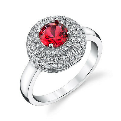 925 Solid Sterling Silver Dome Ruby Engagement Ring with Pave Cubic Zirconias CZ