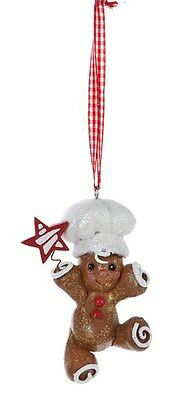 Kurt Adler Handpainted Gingerbread Boy Baker Holding Cookie Christmas Ornament