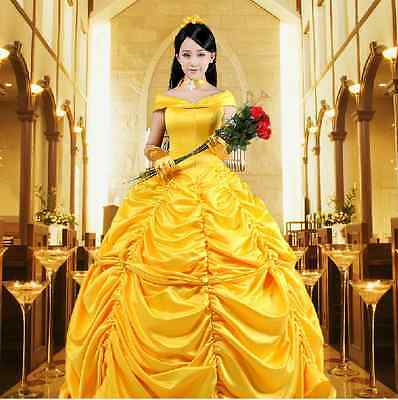 Adult Princess Belle Costume Beauty and The Beast  Fancy Dress USA Warehouse