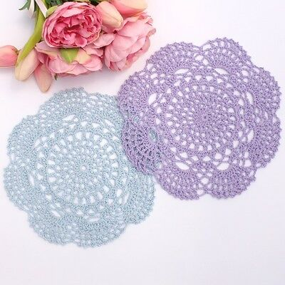 Crochet doilies light blue and purple 20 - 22 cm for millinery and crafts