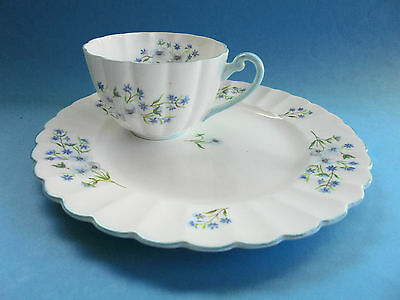 Vintage Shelley Blue Rock Tennis Set Cup And Plate Snack Set