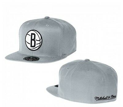 quality design 213b5 9e99e Mitchell   Ness Brooklyn Nets Grey High Crown Fitted Hat Size 7 ...