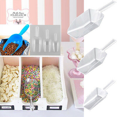 3pc Wedding Bar Dessert Buffet Ice Sugar Sweet Candy Party Clear Plastic Scoop