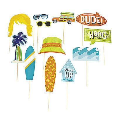 12 SURFS UP Photo Booth Prop Sticks Costume Beach Surfing Birthday Party Decor