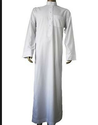 Mens Saudi Style White Thobe, Jubba, Arab Robe, dishdash Islamic Clothing. 56-62