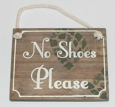 Vintage Distressed No Shoes Please Hanging Wooden Sign Plaque