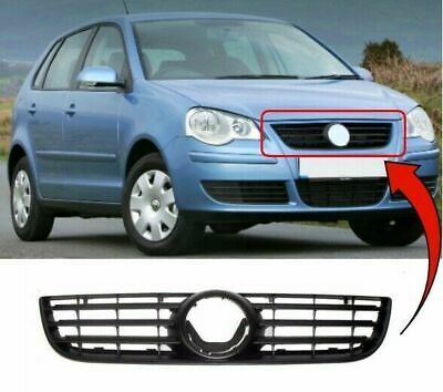 Vw Polo 2005-2009 Front Main Centre Grille Black Insurance Approved New