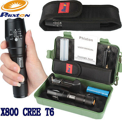 20000LM Zoomable XML T6 LED Tactical Flashlight Torch+18650 Battery+Charger+Case