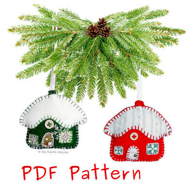** EMAIL PDF VERSION ** Snowy Cottage Handmade Christmas Ornament Sewing PATTERN