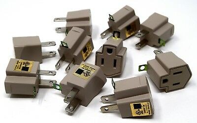 Convert 3 Prong to 2 Prong UL AC Wall Outlet Cord End Adapter Polarized  20 Pack