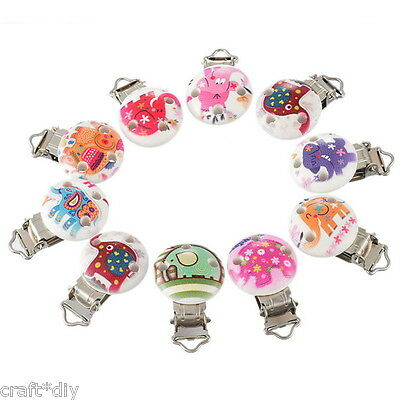 5 Mixte Clips Pinces Crocodile Attache Tétine Animal Bois Rond Nature4.6x2.9cm