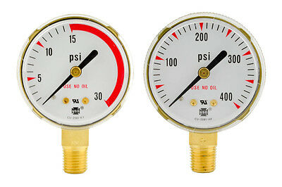 "2"" x 30 PSI & 400 PSI Welding Regulator Repair Replacement Gauges For Acetylene"