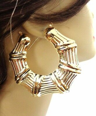 Large Bamboo Hoop Earrings Gold Or Silver Tone 3 Inch Puffy