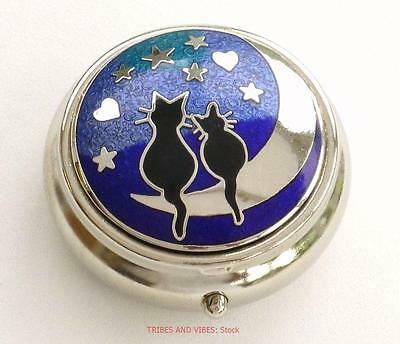 Pill Box BLACK CATS Hearts Moon Stars Sea Gems Silver Plate enamels round 40mm