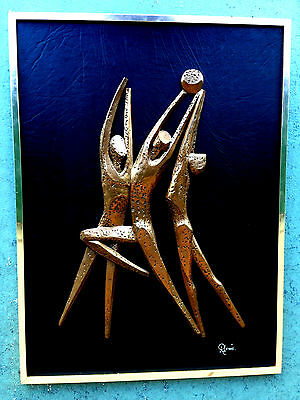 vollyball ? basketball ? CONTEMPORARY BRONZE FIGURAL SCULPTURE IN RELIEF R LEWIS