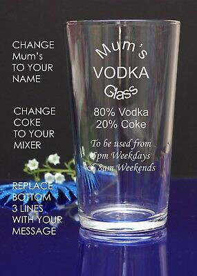 PersonalisedvEngraved Pint glass MUM'S VODKA AND COKE GLASS  BIRTHDAY/Christmas1