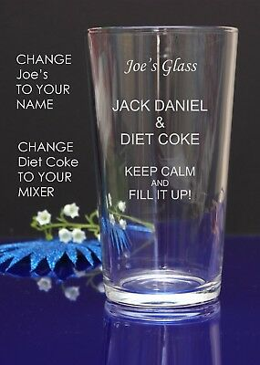 Personalised Engraved Pint JACK DANIEL AND DIET COKE glass Birthday/Christmas 6