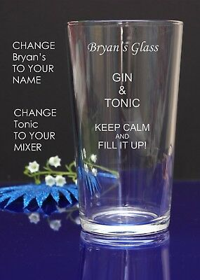 Personalised Engraved Pint mixer spirit GIN AND TONIC glass CHRISTMAS/BIRTHDAY 7