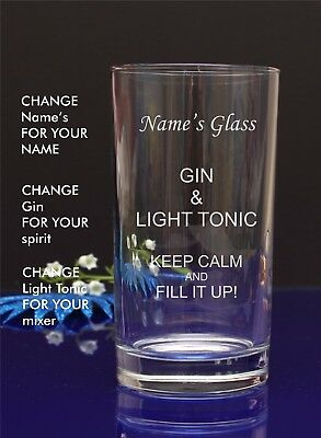 Personalised Engraved Hi ball Tumbler mixer spirit GIN AND LIGHT TONIC glass 71