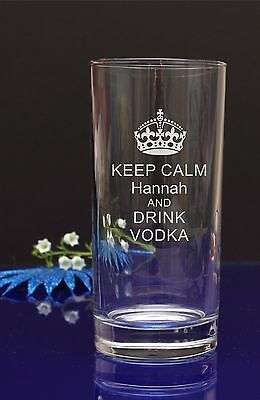 "Personalised Engraved Glass Highball -""KEEP CALM"" Christmas Birthday Gift 18"