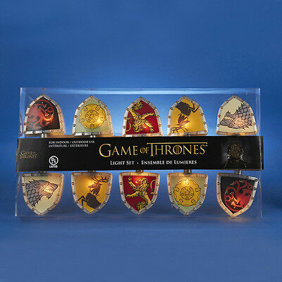 Kurt S. Adler Officially Licensed Game Of Thrones Shield 10 Light Set