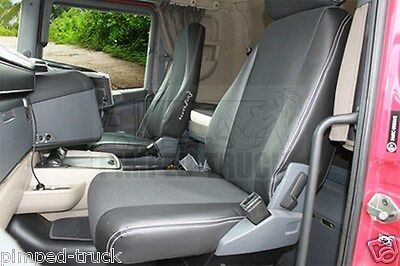 Black SCANIA R-series 2005-2013 ECO LEATHER SEAT COVERS 2 different seats