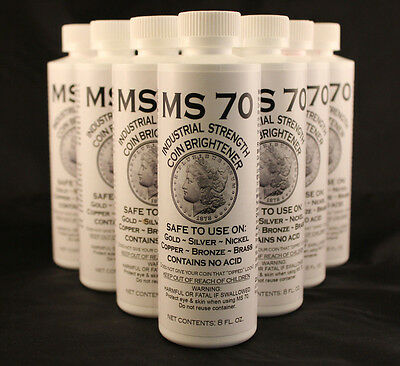 COIN CLEANER / BRIGHTENER - MS70 - GOLD, SILVER, COPPER - 8 oz Bottle - 12 TOTAL