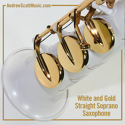 Straight Soprano Saxophone in Case - White with Gold Colored Keys - Masterpiece