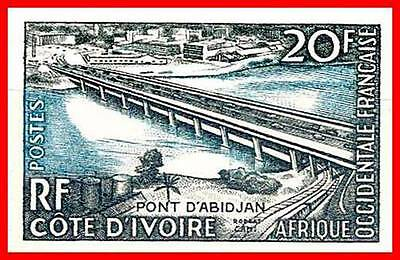 FRENCH WEST AFRICA 1958  BRIDGE imperforated SC#24 MNH RAILROAD TRAIN