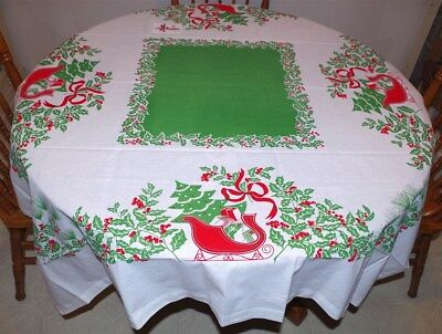 "REPRODUCTION VINTAGE CHRISTMAS TABLECLOTH - SLEIGH RIDE, 52""Sq NEW! DISCONTINUED"