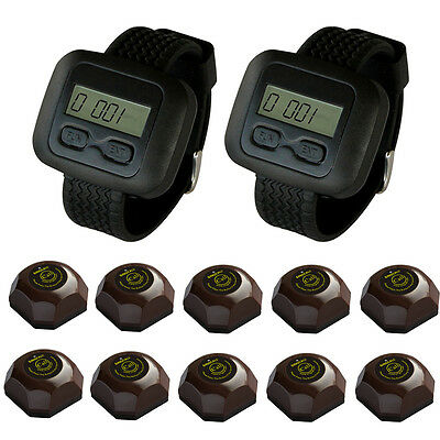 SINGCALL Wireless Waiter Service Calling System for Restaurant 2 Watch 10 Bells